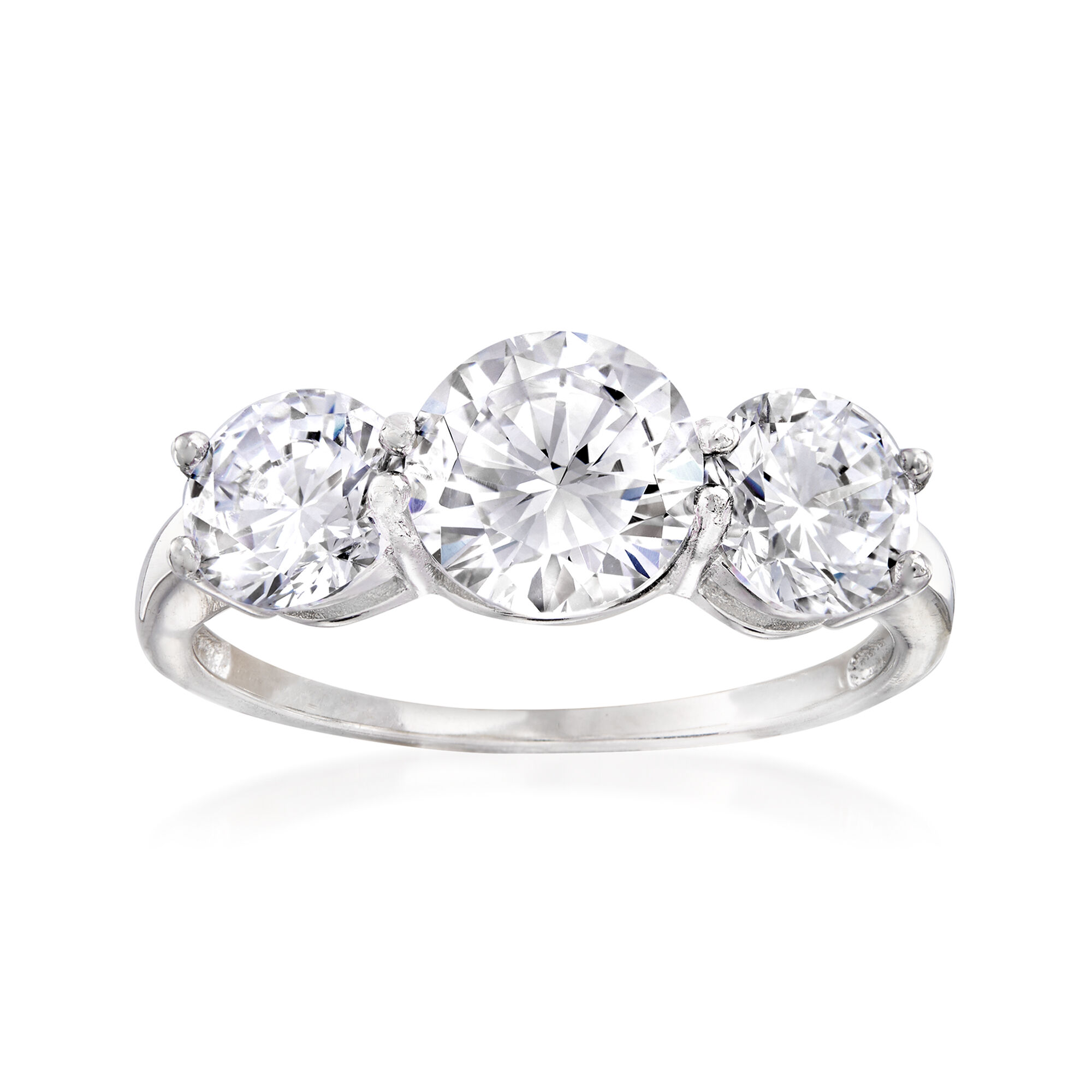 6MM Sterling Silver Round 1.75ct CZ Three Stone Wedding Anniversary Ring Band