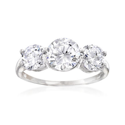 3.00 ct. t.w. CZ Three-Stone Ring in Sterling Silver