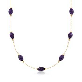 "40.00 ct. t.w. Amethyst Station Necklace in 14kt Yellow Gold. 20"", , default"