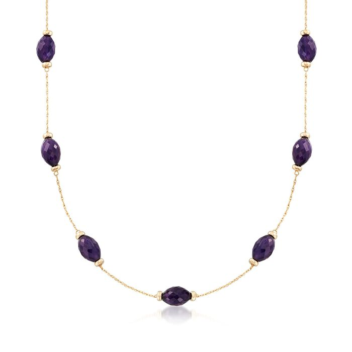 40.00 ct. t.w. Amethyst Station Necklace in 14kt Yellow Gold, , default
