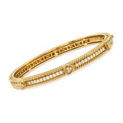 "Judith Ripka ""Berge"" 1.07 ct. t.w. Diamond Bangle Bracelet in 18kt Yellow Gold. 7"", , default"