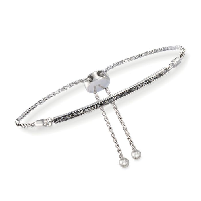 .15 ct. t.w. Black Diamond Bar Bolo Bracelet in Sterling Silver, , default