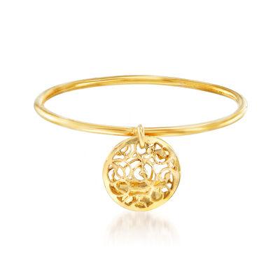 Italian 18kt Yellow Gold Filigree Disc Charm Ring