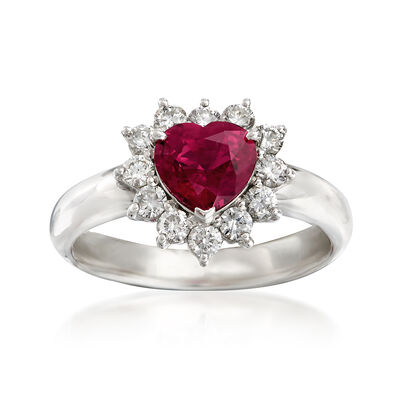 C. 2000 Vintage 1.10 Carat Ruby and .54 ct. t.w. Diamond Heart Ring in Platinum, , default
