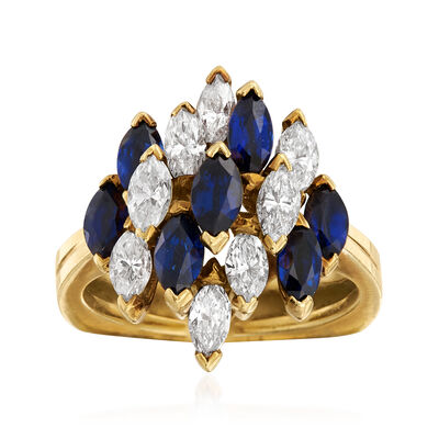C. 1970 Vintage 1.40 ct. t.w. Sapphire and 1.15 ct. t.w. Diamond Cluster Ring in 18kt Yellow Gold, , default