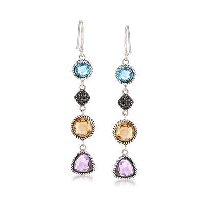 8.00 ct. t.w. Multi-Gem Drop Earrings in Sterling Silver, , default