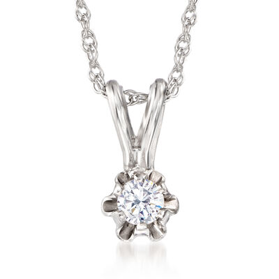 Baby's Diamond Accent Solitaire Necklace in 14kt White Gold, , default