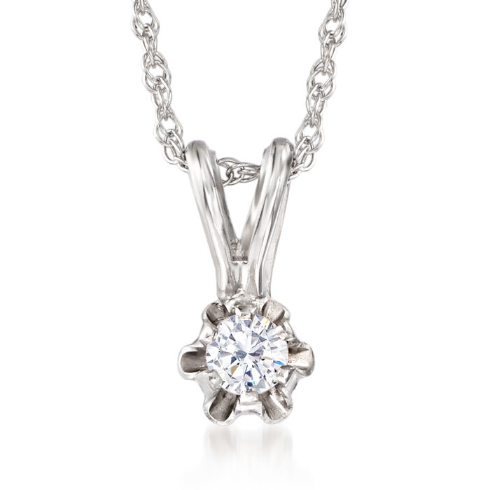 "Baby's Diamond Accent Solitaire Necklace in 14kt White Gold. 13"", , default"