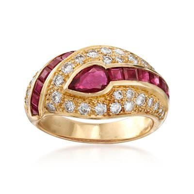 C. 1990 Vintage 1.80 ct. t.w. Ruby and .75 ct. t.w. Diamond Dome Ring in 18kt Yellow Gold, , default