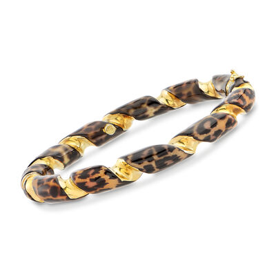 Italian Leopard-Print Enamel Twisted Bangle Bracelet in 18kt Gold Over Sterling, , default