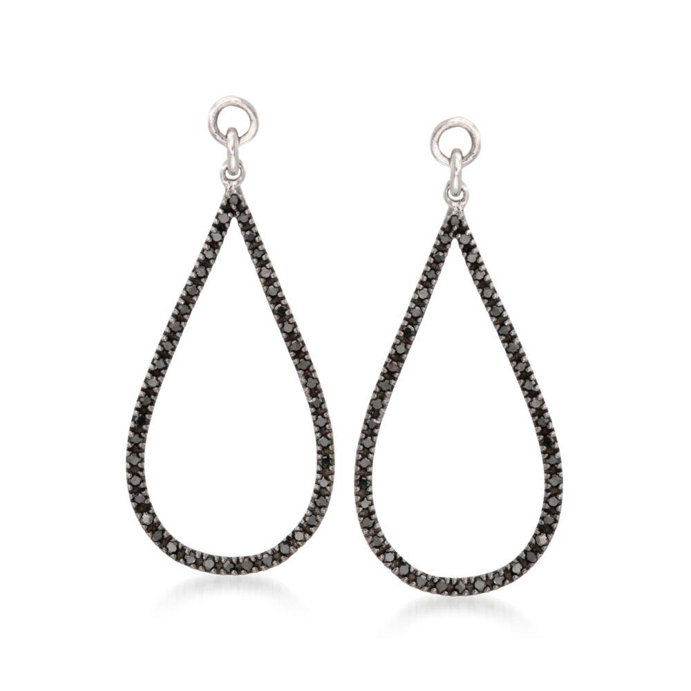 T W Black Diamond Open Teardrop Earring Jackets In Sterling Silver