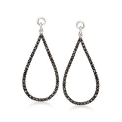 .25 ct. t.w. Black Diamond Open Teardrop Earring Jackets in Sterling Silver, , default