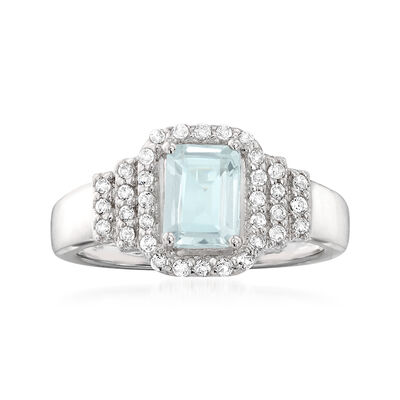 .90 Carat Aquamarine and .30 ct. t.w. White Topaz Ring in Sterling Silver, , default