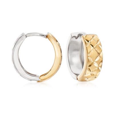 14kt Two-Tone Gold Diamond-Cut Reversible Huggie Hoop Earrings, , default