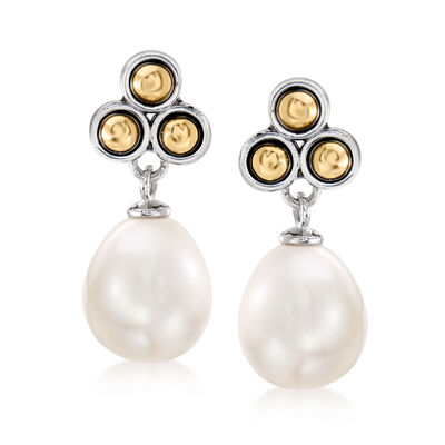 9-9.5mm Cultured Pearl Drop Earrings in Sterling Silver and 14kt Yellow Gold, , default