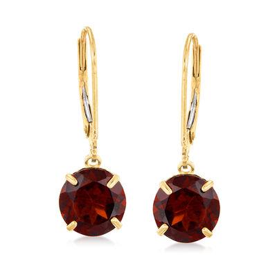 4.50 ct. t.w. Garnet Drop Earrings in 14kt Yellow Gold