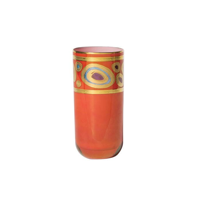 "Vietri ""Regalia"" Orange Highball Glass"