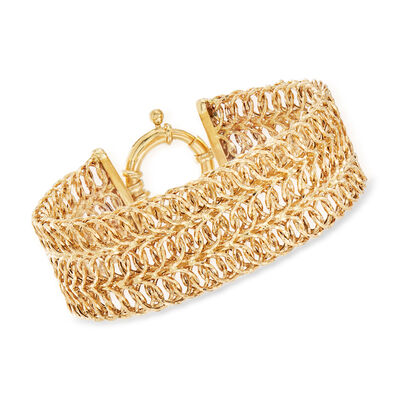 14kt Yellow Gold Wide Multi-Link Bracelet