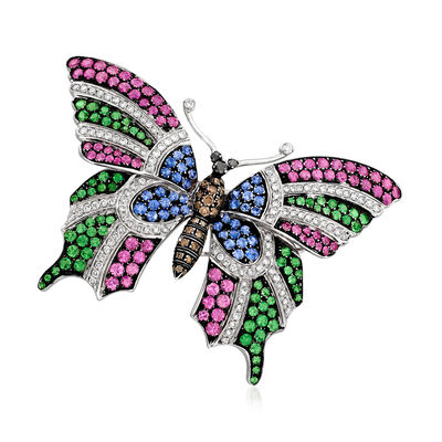 C. 1980 Vintage Multicolored 2.27 ct. t.w. Diamond and 9.85 ct. t.w. Multi-Gem Butterfly Pin in 18kt White Gold, , default