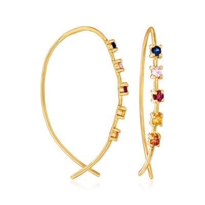 .40 ct. t.w. Multicolored Sapphire and .10 ct. t.w. Ruby Threader Earrings in 14kt Yellow Gold