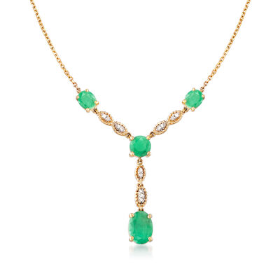 2.00 ct. t.w. Emerald Y-Necklace with Diamond Accents in 14kt Yellow Gold, , default
