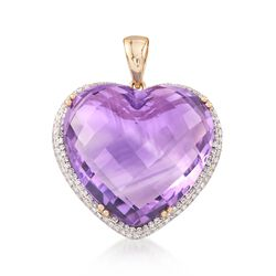 25.00 Carat Heart-Shaped Amethyst and .43 ct. t.w. Diamond Pendant in 14kt Yellow Gold, , default