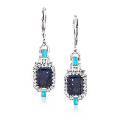 Lapis, Blue Enamel and .70 ct. t.w. White Topaz Drop Earrings in Sterling Silver, , default