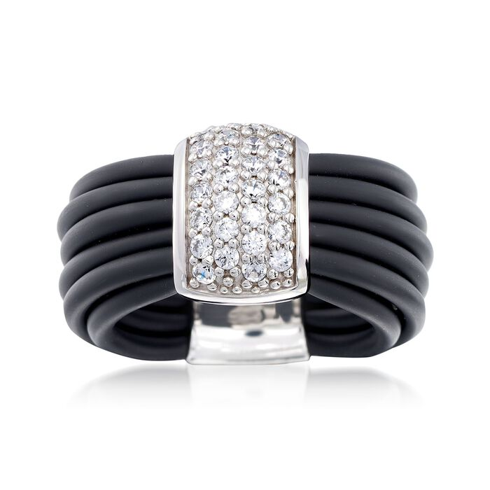 "Belle Etoile ""Adagio"" .70 ct. t.w. CZ and Black Rubber Ring in Sterling Silver"