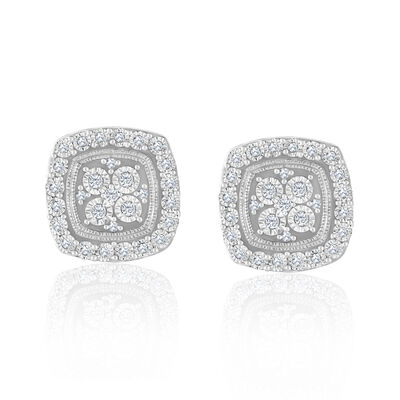 .18 ct. t.w. Diamond Square Cluster Earrings in 14kt White Gold