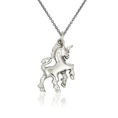"14kt White Gold Polished Unicorn Charm Necklace. 18"", , default"