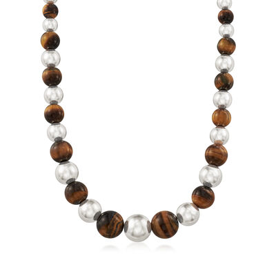 6-14mm Graduated Tiger's Eye and Silver Bead Necklace in Sterling Silver, , default