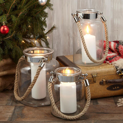 """Set of 3 """"Clear View"""" Rope-Handled Lanterns"""
