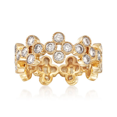2.00 ct. t.w. Diamond Clover Eternity Band in 14kt Yellow Gold, , default
