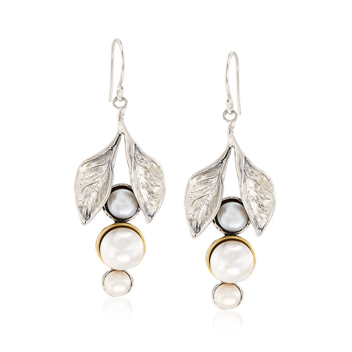 Cultured Button Pearl Leaf Drop Earrings in Sterling Silver and 14kt Yellow Gold, , default