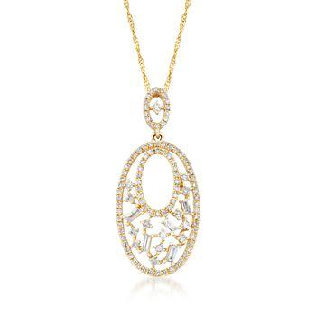 .50 ct. t.w. Diamond Openwork Pendant in 14kt Yellow Gold , , default