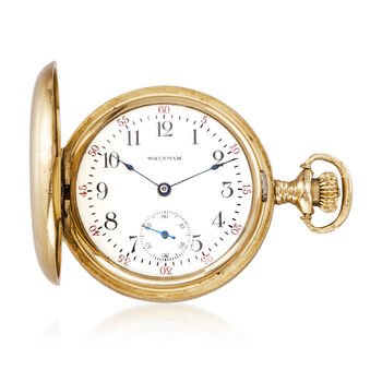 C. 1910 Vintage Waltham .15 Carat Diamond Mechanical Pocket Watch in 14kt Yellow Gold, , default