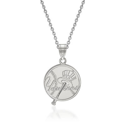 """Sterling Silver MLB New York Yankees Pendant Necklace. 18"""", , default"""
