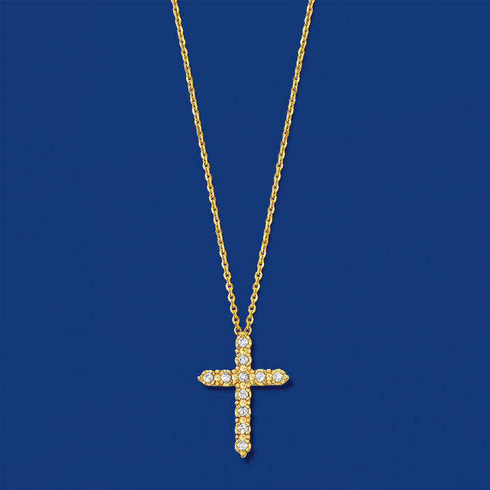 .25 ct. t.w. Diamond Cross Pendant Necklace in 14kt Yellow Gold