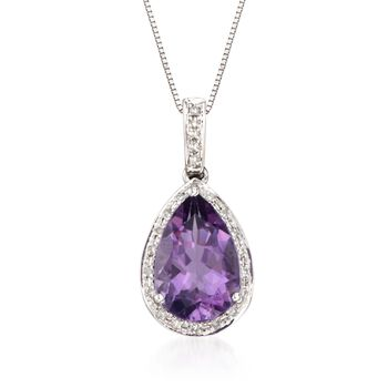 """2.65 Carat Amethyst Pendant Necklace With .10 ct. t.w. Diamonds in 14kt White Gold. 18"""", , default"""
