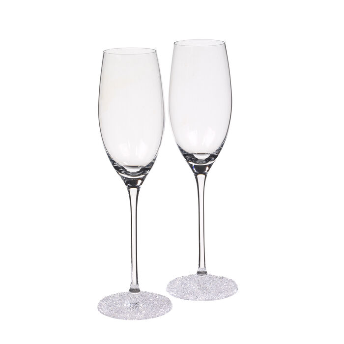 """""""Ice Crystal"""" Set of 2 Fluted Champagne Glasses"""