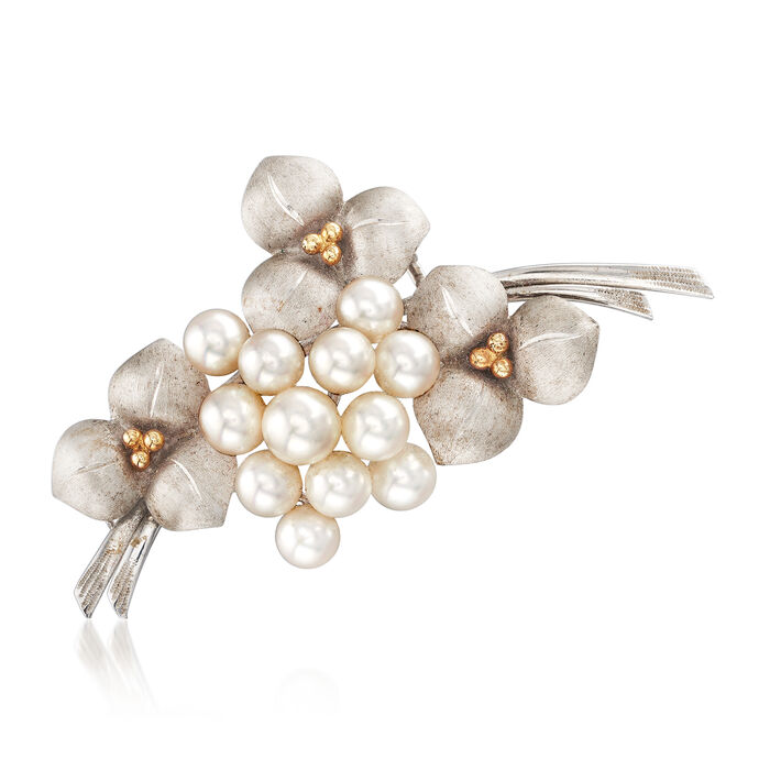 C. 1970 Vintage Cultured Pearl Bouquet Pin in 14kt Two-Tone Gold, , default