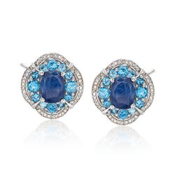 5.00 ct. t.w. Sapphire and 1.70 ct. t.w. Swiss Blue Topaz Earrings With Diamonds in Sterling Silver, , default