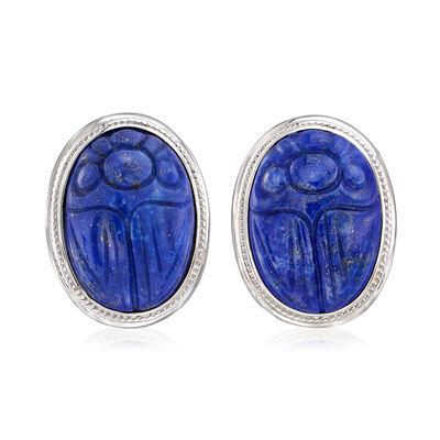 Lapis Scarab Earrings in Sterling Silver, , default
