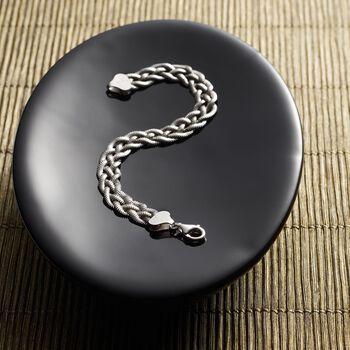 Italian Sterling Silver Braided Snake Chain Bracelet, , default