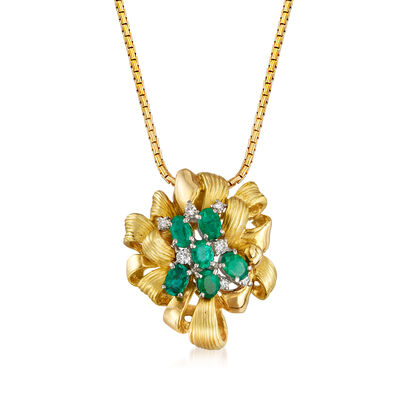 C. 1980 Vintage 1.28 ct. t.w. Emerald and .15 ct. t.w. Diamond Bow Pendant Necklace in 18kt Yellow Gold