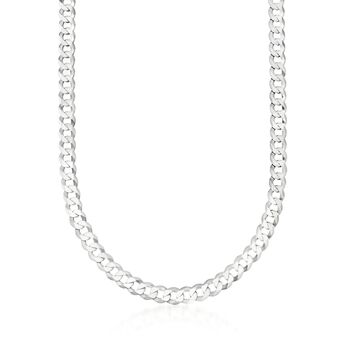 "Men's 8mm Sterling Silver Curb Link Necklace. 24"", , default"