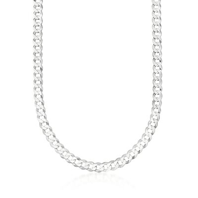 Men's 8mm Sterling Silver Curb Link Necklace, , default