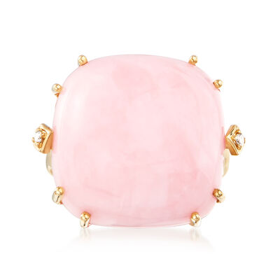20mm Pink Opal Ring with Diamond-Accents in 14kt Yellow Gold