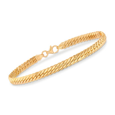 Italian 18kt Yellow Gold Cuban-Link Bracelet, , default