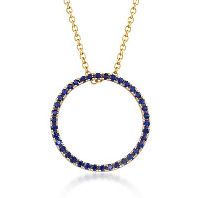 .80 ct. t.w. Sapphire Open Eternity Circle Necklace in 14kt Yellow Gold, , default